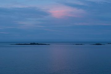 Blauw en roze in zonsondergang
