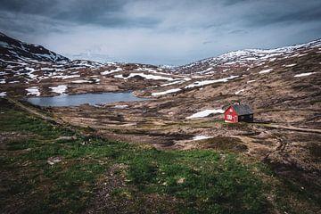 Rotes Haus in der Landschaft von Norwegen von Jayzon Photo