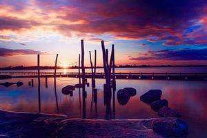 Zonsondergang bij de Loosdrechtse plassen van Jennifer Hendriks