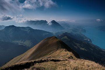 Uitzicht op bergen en meer in Zwitserland van FRNS