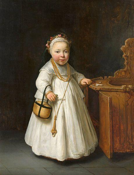 Mädchen neben einem Kinderstuhl, Govert Flinck von Meesterlijcke Meesters