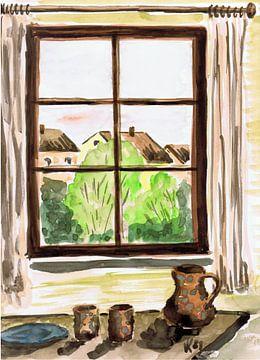 Uitzicht vanuit het raam - Dettenhausen - aquarel geschilderd door VK (Veit Kessler) 1989