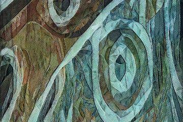Heure bleue dans un polder marécageux (abstrait) sur Anna Marie de Klerk
