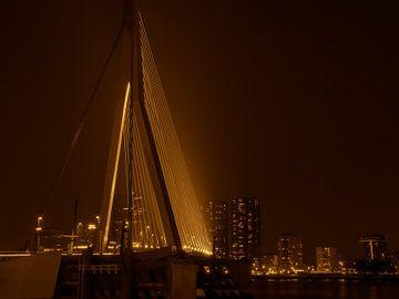 Erasmusbrug Rotterdam - in goud bruin van Ineke Duijzer