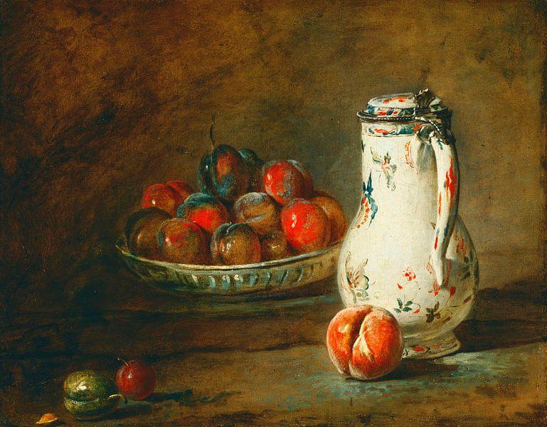 Eine Schale Pflaumen, Jean-Baptiste Siméon Chardin von Meesterlijcke Meesters