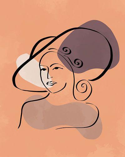 Vrouw met hoed lijn tekening met drie organische vormen
