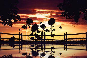 Silhouette chaleureuse de la nature sur Bert Hooijer