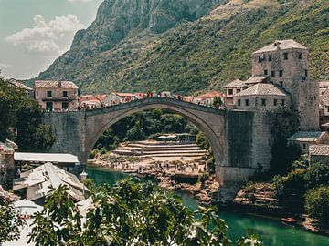 Oude brug Mostar van Petar Micic