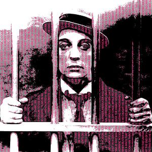 Buster Keaton Black & White, text in Pink & Red