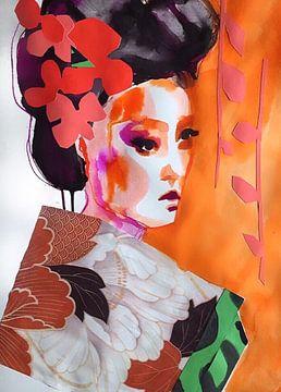 Geisha mit Blumen im Haar von Helia Tayebi Art