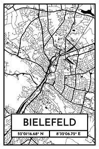 Bielefeld – City Map Design Stadtplan Karte (Retro)