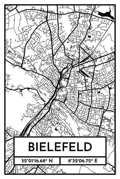 Bielefeld – City Map Design Stadtplan Karte (Retro) von ViaMapia