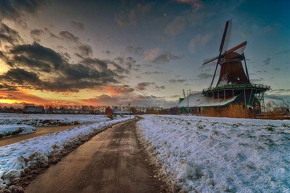 Winter op de Zaanse schans van John Leeninga