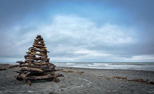 Bouwwerk op het strand, Nieuw Zeeland