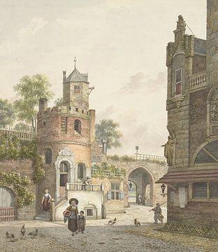 Stadtmauer mit einem Turm und einem Tor, von innen gesehen, Jan Hendrik Verheijen