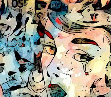 Vrouw met tranen in tranen van zam art
