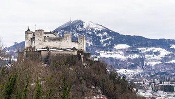Schloss Hohensalzburg auf einem Hügel in Salzburg, Österreich von Jessica Lokker