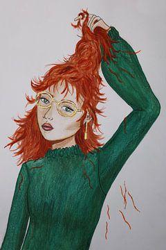 Roodharige vrouw met trichotillomanie van Iris Kelly Kuntkes