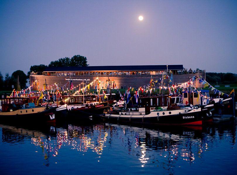 Boten en ark in haven van Wijk van Colin van der Bel