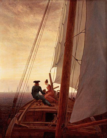 Caspar David Friedrich. Op een zeilschip
