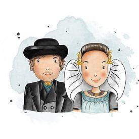 Zeeuws echtpaar in Walcherse klederdracht van Teuni's Dreams of Reality