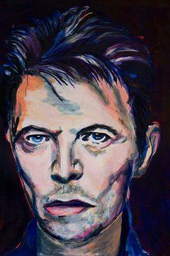David Bowie portrait peinture sur Angela Peters