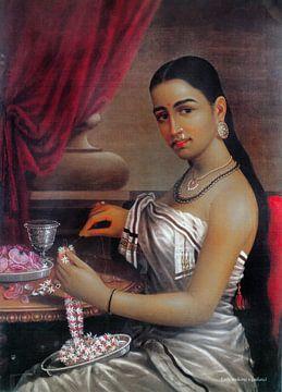 Ravi Verma, Dame beim Herstellen eines Pendels - 1895