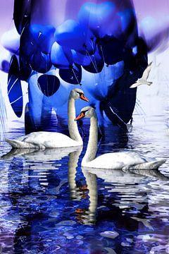 Liefde van de zwaan - De hele wereld is hemelsblauw ...... van Christine Nöhmeier