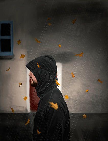 Wandeling in de regen  van Kim Verhoef