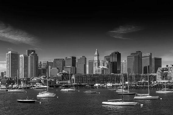 BOSTON Skyline, Noord-Einde En Financiële District   zwart-wit van Melanie Viola