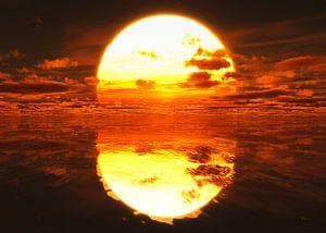 Zonsondergang over de zee van
