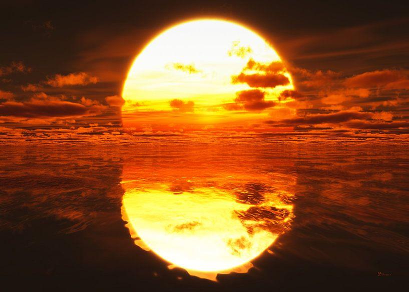 Zonsondergang over de zee van Max Steinwald