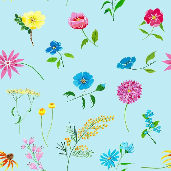 Vrolijk naadloos bloemenpatroon