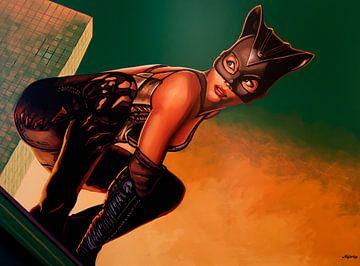 Halle Berry als Catwoman Schilderij van Paul Meijering