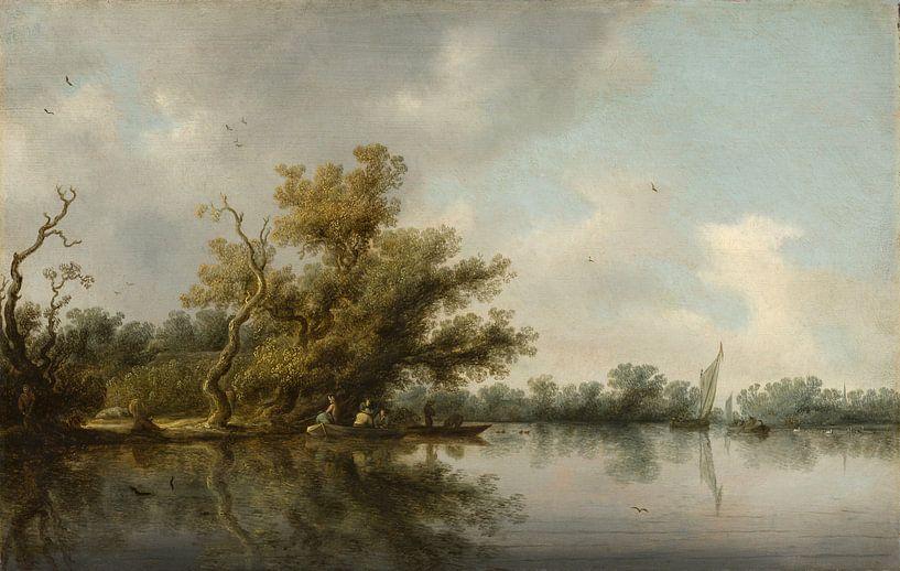 Flussufer mit alten Bäumen, Salomon van Ruysdael von Meesterlijcke Meesters