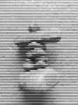 Steinmann in schwarzen und weißen Linien von Maurice Dawson