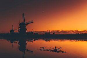 Die Mühlen von Kinderdijk bei Sonnenaufgang