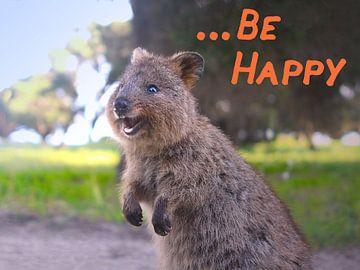 Soyez heureux - le kangourou à queue courte qui rit (Quokka) sur Ines Porada