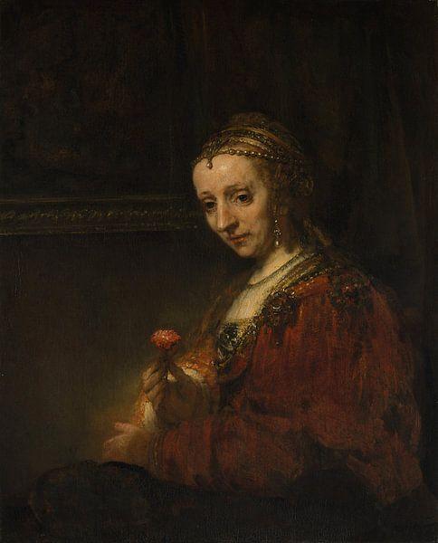 Frau mit einem Rosa, Rembrandt von Rembrandt van Rijn