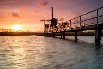 Sonnenuntergang Mühle von Jan Koppelaar