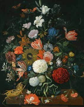 Blumenstillleben in einer Vase mit Maiskolben und Schnecke, Jacob Rootius