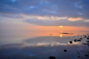 Wad bij zonsondergang van Rinnie Wijnstra