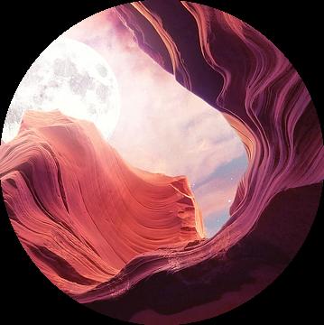 Grand Canyon met Space & Full Moon Collage II - Panoramisch van Art Design Works