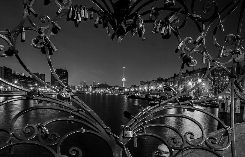 De Euromast door de Lock of Love in Rotterdam Delfshaven van MS Fotografie
