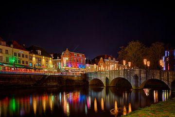 Roermond by night, zicht op de Stenen Brug van Carola Schellekens