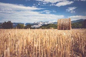 Berglandschap met hooi balen op het platteland