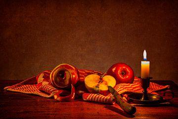 Stilleven: Appels met kaars van Carola Schellekens