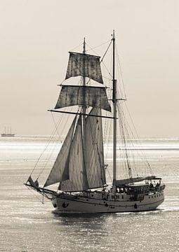 Zeilschip op de Waddenzee. von Hennnie Keeris