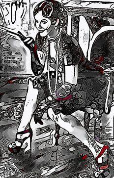Frau mit Zigarette von zam art