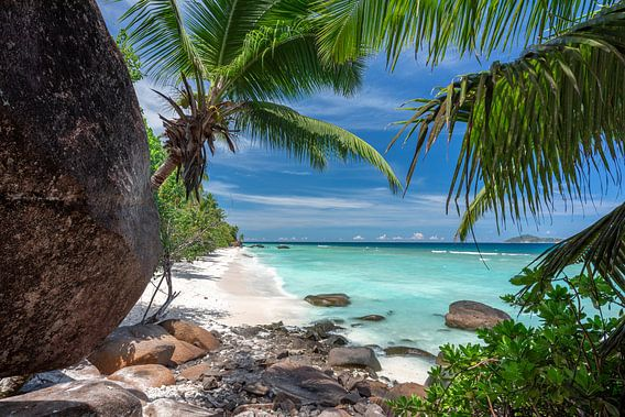 Tropischer Strand der Seychellen